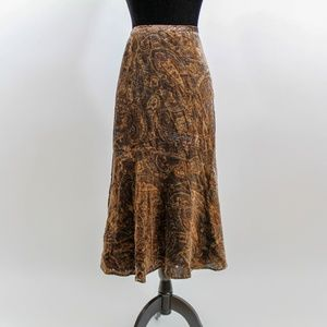 Coldwater Creek Gold Paisley Gypsy Midi Skirt